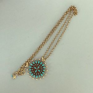Lucky Brand Turquoise sun Medallion necklace